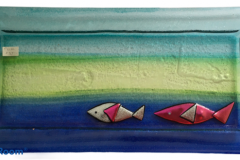 "Fused Glass Dish by Marcela Rosemberg - 12"" x 6""  $37"