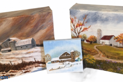 "Small blocked barn paintings by Susanne Pacey 5"" x 5"" - $20      3"" x 3"" - $12"